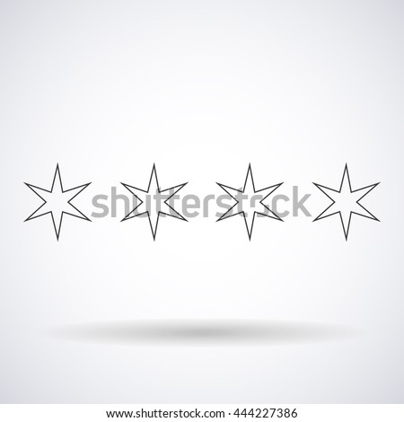 Stars hexagonal silhouettes outlines element Chicago flag isolated on white background, vector illustration