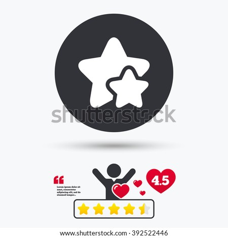 Stars icon. Stars flat symbol. Stars art illustration. Stars flat sign. Stars graphic icon. Star vote ranking. Client or customer like. - stock vector