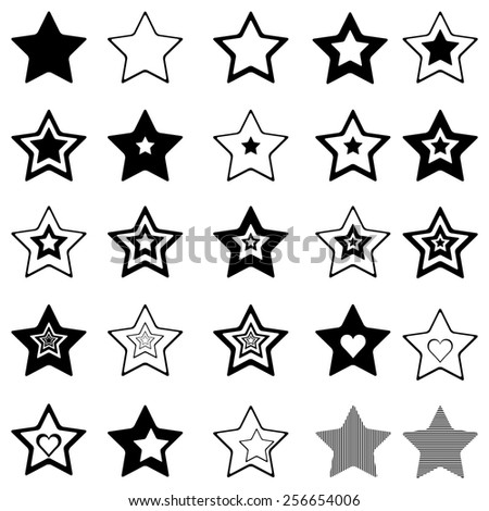 Stars icons set - stock vector