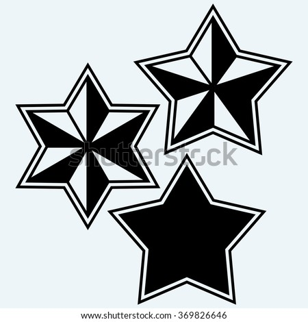 Stars icons set. Isolated on blue background. Vector silhouettes