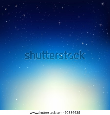 Stars In Night Sky, Vector Illustration - stock vector