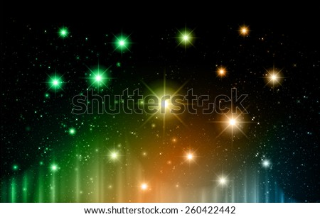 Stars of a planet and galaxy in a free space. meteor, meteorite, fire on dark orange green blue background. Universe. - stock vector