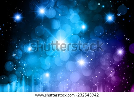 Stars of a planet and galaxy in a free space. meteor, meteorite, fire on dark Purple blue background. Universe. - stock vector