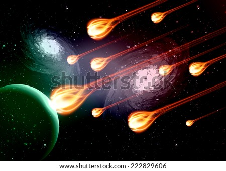 Stars of a planet and galaxy in a free space. meteor, meteorite, fire on dark Purple green background.  - stock vector