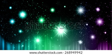 Stars of a planet and galaxy in a free space. meteor, meteorite, fire on dark Purple green blue background. Universe. - stock vector