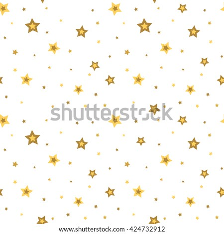 Stars seamless pattern gold and white retro background. Chaotic elements. Abstract geometric shape texture. 3d effect sky. Design template for wallpaper, wrapping, fabric, textile. Vector Illustration - stock vector