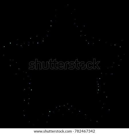 Stars shiny confetti. Scattered little, sparkling, flashing ultra violet, purple glitter elements. Random tiny stellar falling on black background. New Year, Christmas background. Vector illustration.