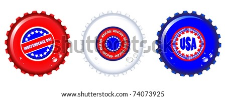 Stars & Stripes bottle caps. USA Fourth of July emblems. Water drops are on separate layer for easy editing. EPS10 vector format. - stock vector
