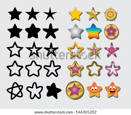 Stars Symbol. Thirty alternative designs in black and color. Useful and easy to edit or change color. Good use for your symbol, web icons, wallpaper, or any design you want.