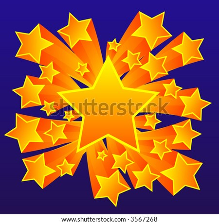 Stars Vector Background, Bold Background, Each star its own group - stock vector