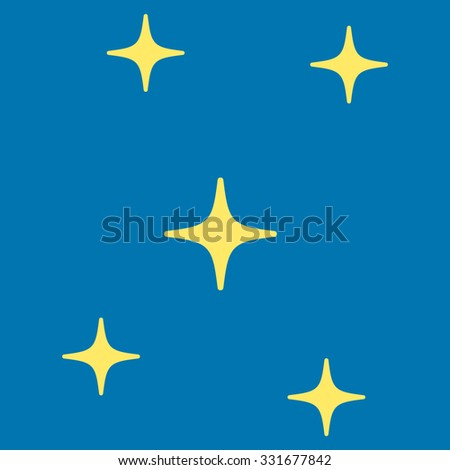Stars vector icon. Style is flat yellow symbol, rounded angles, blue background.