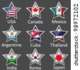 stars with flags icon vector - stock photo