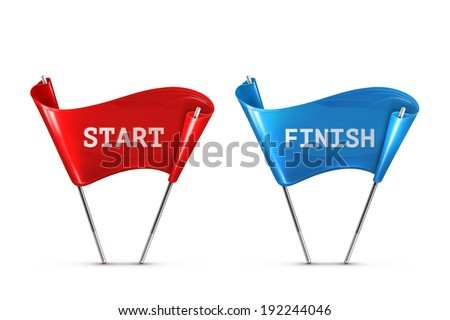Start and Finish, vector illustration - stock vector