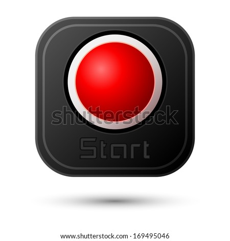 Start button isolated on white. Vector design - stock vector