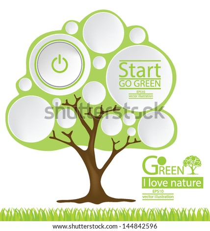 Start button. Tree. Go green. Design Template. vector illustration.