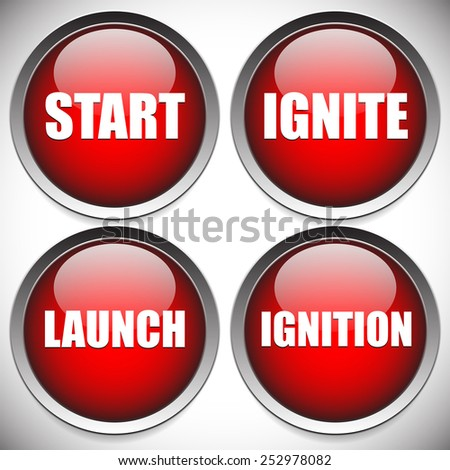 Start, ignition buttons with words Start, ignite, launch and ignition. Vector buttons. - stock vector