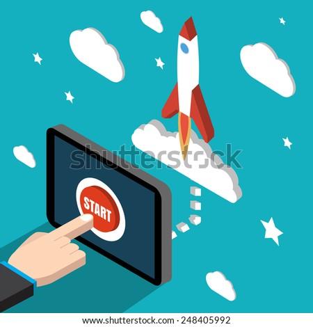 Start mission isometric. Vector illustration. Stock vector. - stock vector