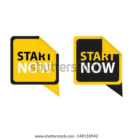 Start now stickers set. Vector - stock vector