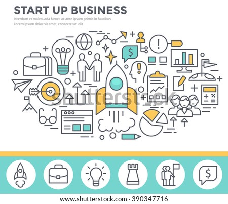 Start up business concept illustration, thin line flat design - stock vector