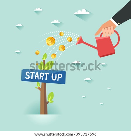 """Start up business growth concept. Human hand with can watering money dollar coin tree with """"Start up"""" sign board. Vector colorful illustration in flat style - stock vector"""