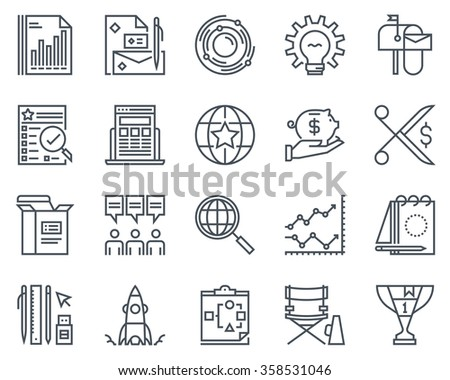 Start up business icon set suitable for info graphics, websites and print media. Black and white flat line icons. - stock vector