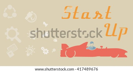 Start Up Concept Composition.Typographic poster. - stock vector