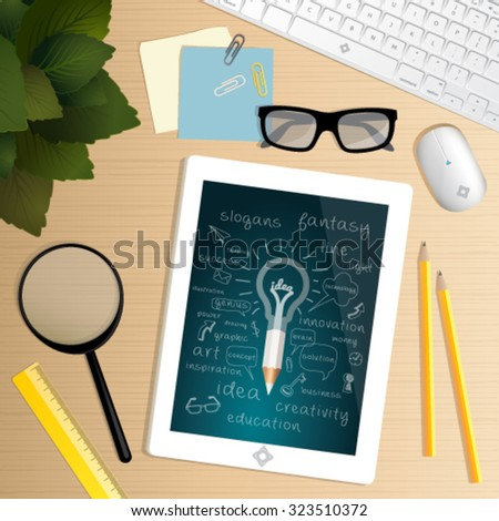 Start up concept. Office desk table. Top view of office work space with scheme from idea through the planning, strategy, marketing, finance, to realization and market success.  - stock vector