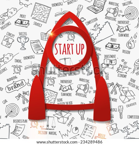 Start up concept with paper rocket and hand drawn pattern. Background pattern is seamless. Vector illustration  - stock vector