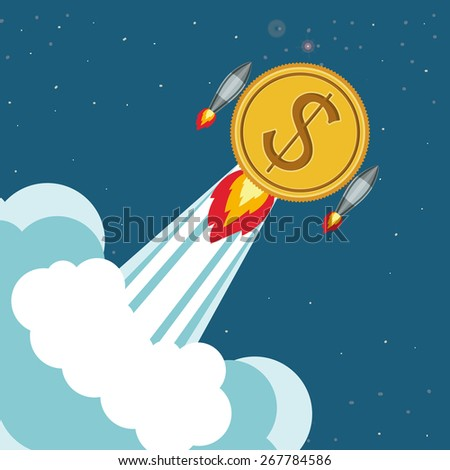 Start up design over sky background, vector illustration