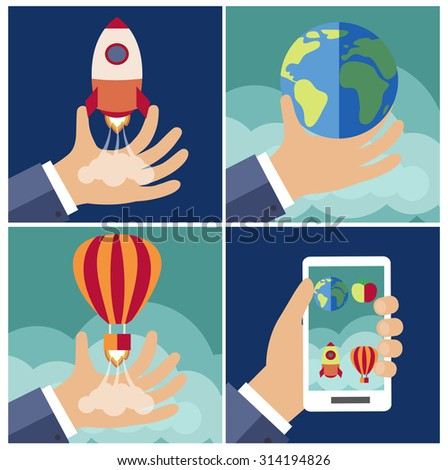 Start up for new business project (vector illustration, flat concept) - stock vector