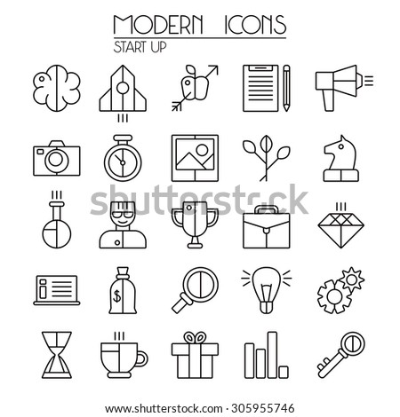 Start up icons set in thin line style. Isolated on white background