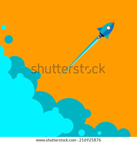 Start up new business project with rocket and clouds image, vector illustration. Flat design. Speed. Rocket flying in the sky above the clouds. Blue sky with white clouds.