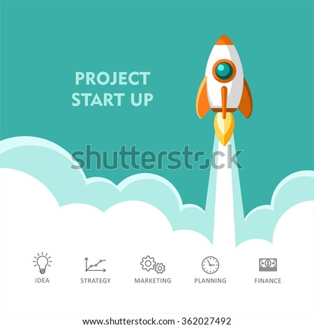 Start Up. Rocket ship. Flat design modern vector illustration concept of new business project start up development and launch a new innovation product on a market. - stock vector