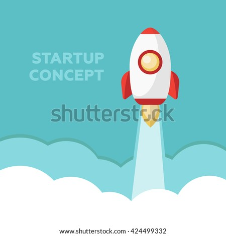 Start Up. Rocket ship. Flat design modern vector illustration concept of new business project start up eps10 - stock vector