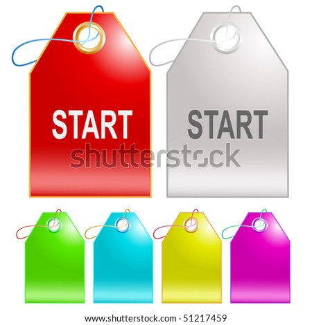 Start. Vector tags.