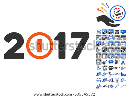 Start 2017 Year Caption icon with bonus 2017 new year design elements. Vector illustration style is flat iconic symbols,modern colors.
