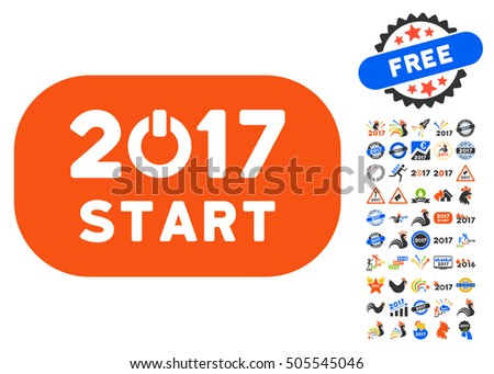 Start 2017 Year Rounded Button icon with bonus 2017 new year icon set. Vector illustration style is flat iconic symbols,modern colors.