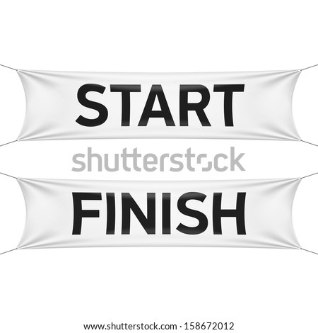 Starting and finishing lines banners. Vector. - stock vector