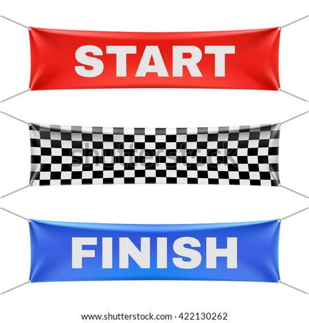 Starting, finishing, and checkered vinyl banners with folds. Sport flag start and finish, banner checkered for competition race. Start or finish sign illustration vector set - stock vector