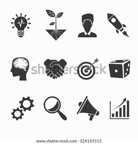 Startup and creative icons set. Idea and development, vector illustration - stock vector