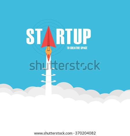 startup business concept, paper plane launch like rocket fly to creative space - stock vector
