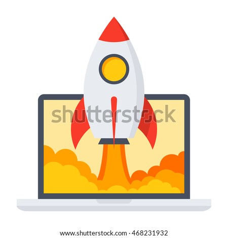 Startup business concept with rocket in flat style.
