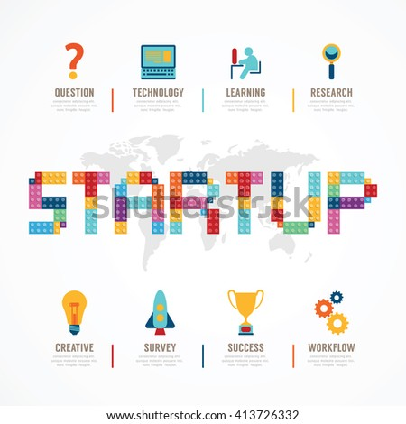 Startup Business design concept block alphabet idea. with flat icons. vector illustration - stock vector