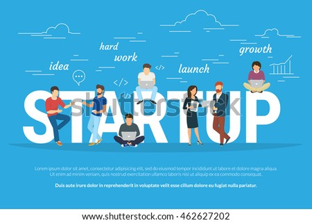 Startup concept flat illustration of business people working as team to launch the business. Young men have an idea, programmer works hard, managers and others promote the project using laptops - stock vector