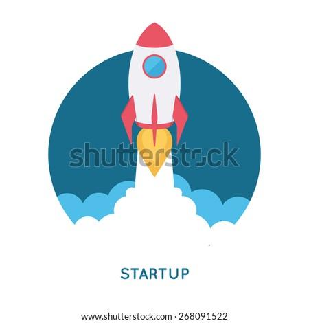 Startup concept illustration. Modern flat design template. Infographic background. - stock vector