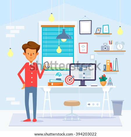 Startup concept. Young man with smartphone and computer. Vector illustration. - stock vector