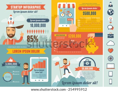 Startup Infographic Template - stock vector