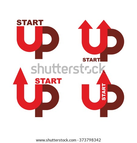 Startup logo. Character set for commencement of business. Red up arrow. Beginning of business ideas. Concept for your biz. Starting of production. Start up Launch of company - stock vector