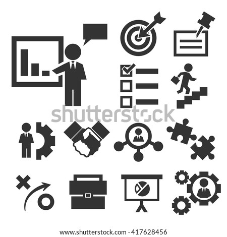 startup, new business icon set - stock vector