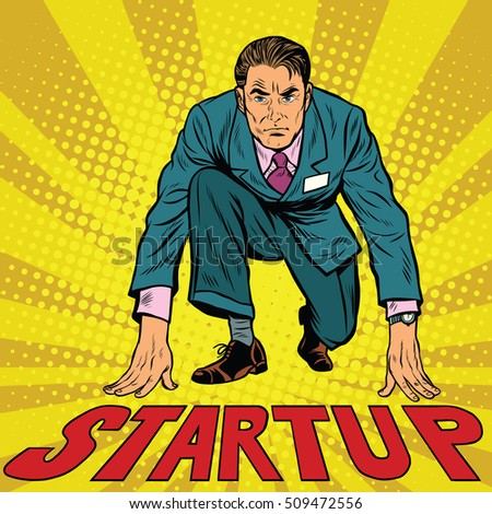 Startup retro businessman on starting line, pop art retro vector